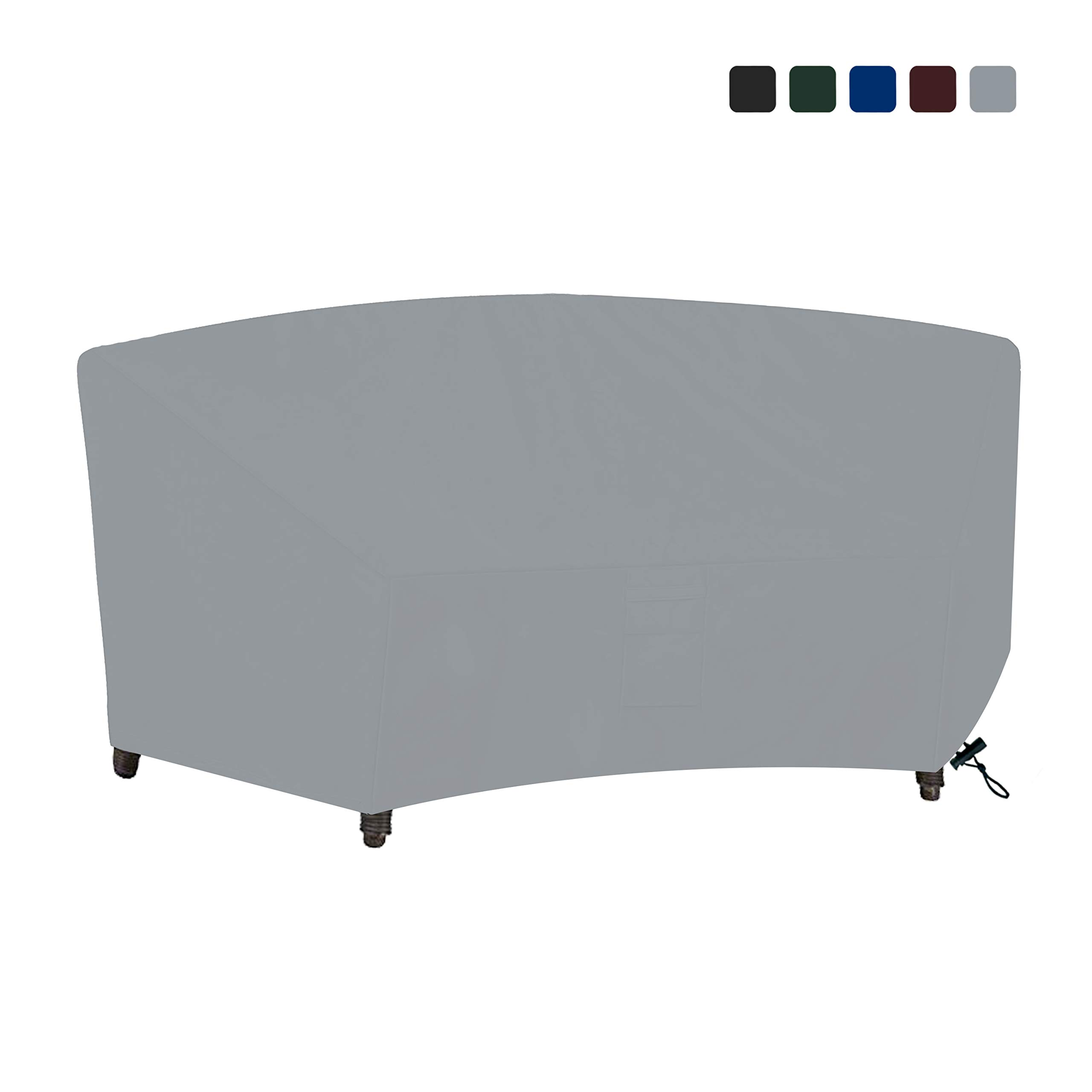 COVERS & ALL Curved Sofa Cover 18 Oz Waterproof - 100% UV & Weather Resistant Customize Outdoor Sofa Cover with Air Pockets and Drawstring with Snug Fit (90W x 34 D x 32 H x 46 FL, Grey)