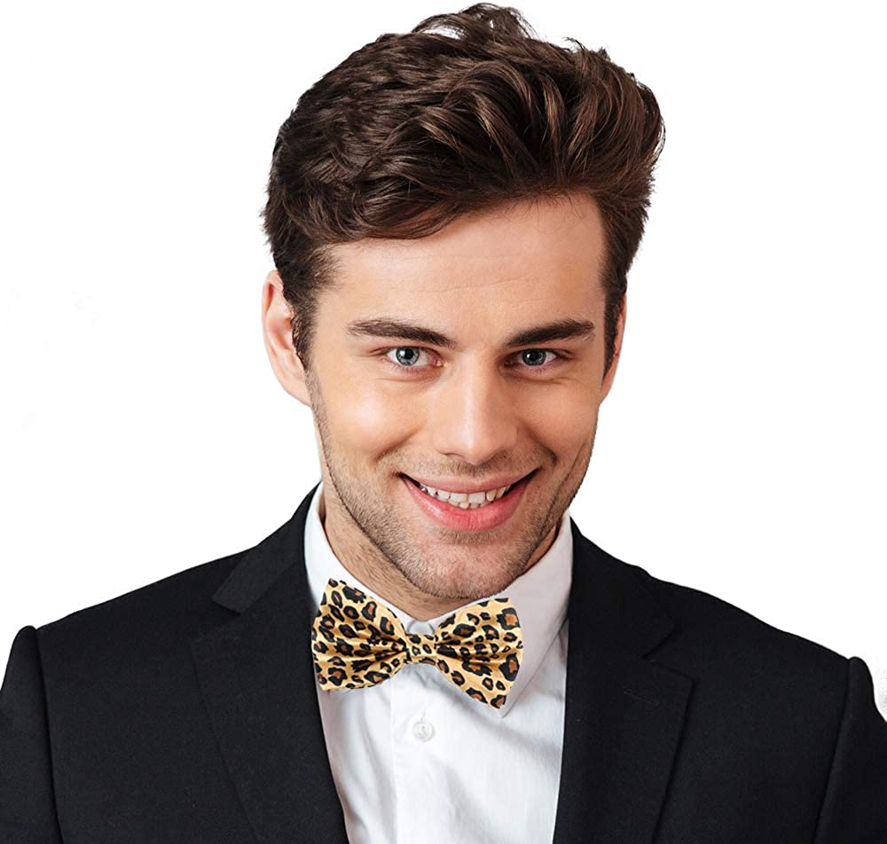 Mens Cheetah Print Leopard Bow Tie Polyester Pre-tied Color Yellow and Black