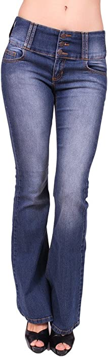 b57662d945a Cello Jeans Women Flare Jeans with 3 Front Button and Orange Stitch ...