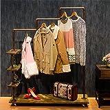 Warm Van Rolling Industrial Iron Pipe Clothing &Shoe Racks,Free Standing Garment Racks,Vintage Closet Storage Decor Rack 47.2''W x 60''H (Bronze)