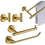 JQK Bathroom Hardware Set, 5-Piece Bath Accessories Set Brushed Gold Wall Mount Includes 24 in Towel Bar, 9 in HT Bar, TP Hol