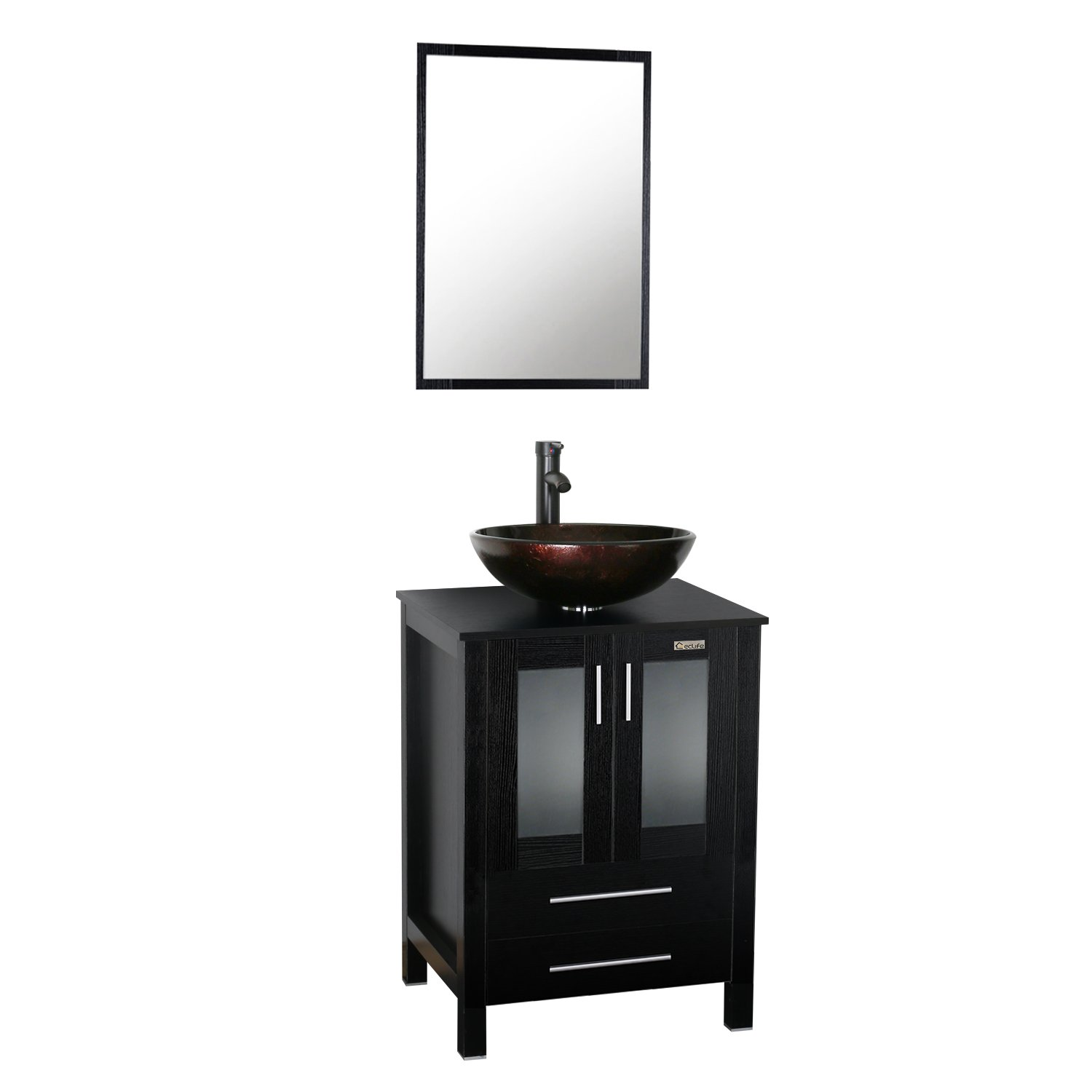 """Eclife New 24"""" Wood Bathroom Vanity Cabinet Solid Glass Sink Bowl Modern Contemporary Design 1.5 GPM ORB Faucet and Pop Up Drain A09B02"""