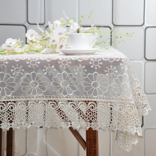 Fashionmall Rectangle Table Cloths, White Crochet Lace Overlay Table Linens for Outdoor or Indoor Use, Wedding Banquet, Host Backyard Parties, Outdoor Picnics Family Gatherings