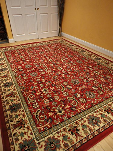 Red traditional rug large red 2x8 persian rug red area for Large red area rugs