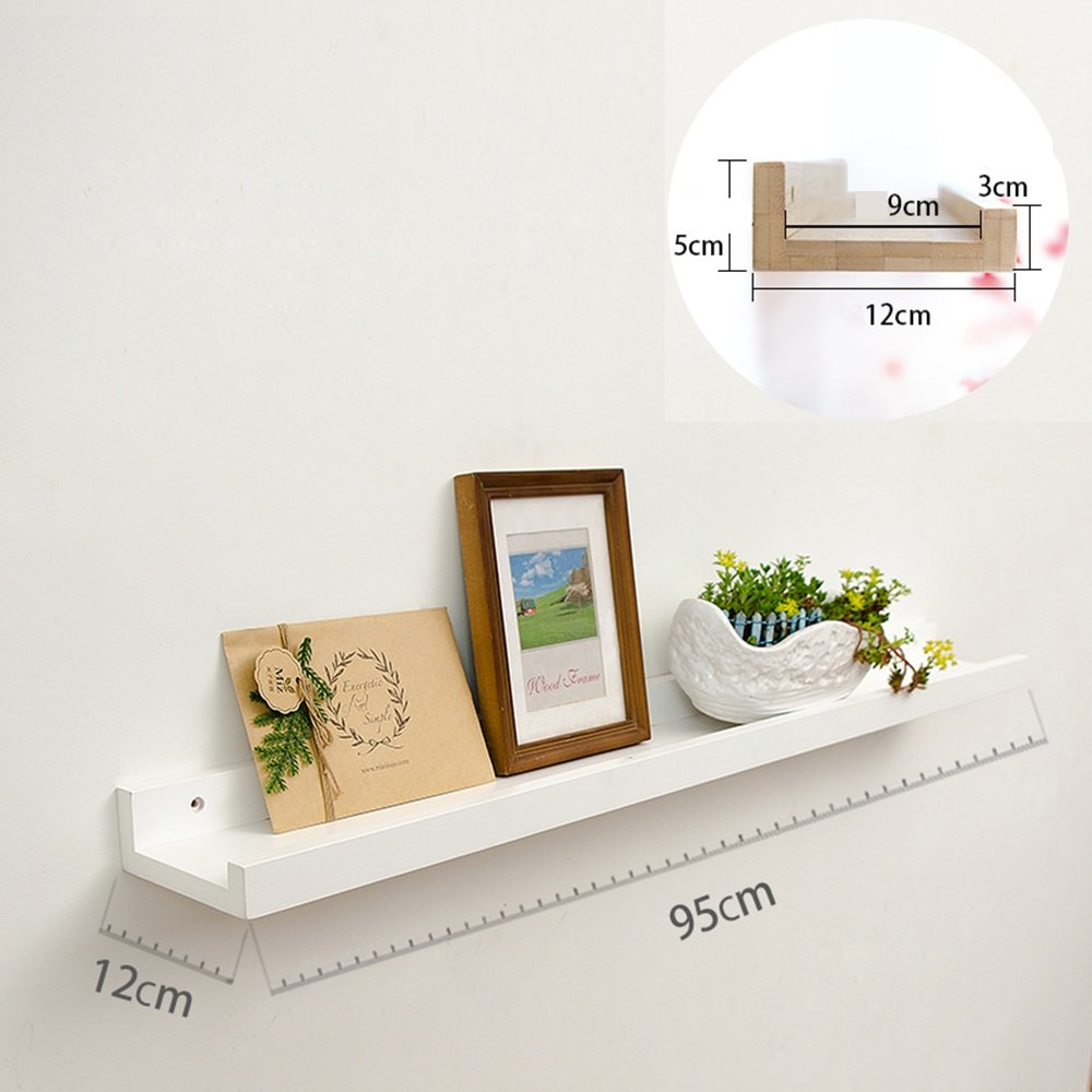 壁パーティションラック、リビングルームテレビ壁掛け装飾フレーム、ベッドルームの壁クリエイティブ木棚 ( 色 : 白 , サイズ さいず : 95*12*5cm ) B076GWJ12S 14452 95*12*5cm|白 白 95*12*5cm