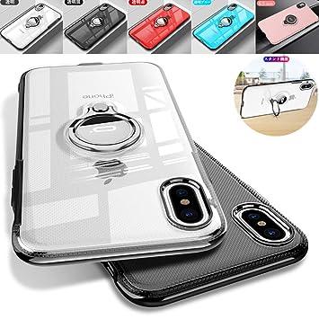 ac4cbb984d iPhoneXS Max iPhoneXR iPhoneX リングケース ストラップホール 落下防止 片手操作 透明 クリア アイフォンXS