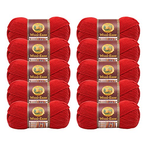 - (10 Pack) Lion Brand Yarn 620-102B Wool-Ease Yarn, Ranch Red