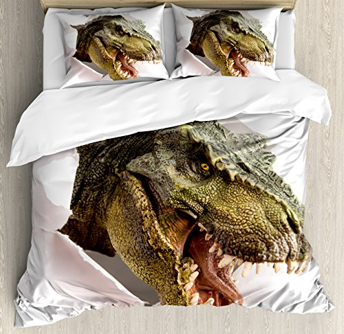 - Ambesonne Dinosaur Duvet Cover Set Queen Size, Dangerous Dinosaur Tears Up the Paper Wall Image Scary Break Scenery, Decorative 3 Piece Bedding Set with 2 Pillow Shams, Green Army Green White