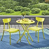 Great Deal Furniture Lucy Outdoor Bistro Set, Matte Lime Green