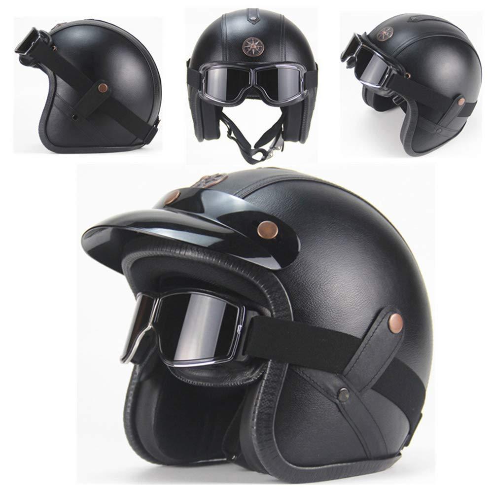 PZY Motorradhelme Retro Handgemachte Persönlichkeit Retro Harley Helm Motorrad-Motorwagen 3 4 Leder Helm Halb Helm Männer Und Frauen Jahreszeiten (Schwarz)