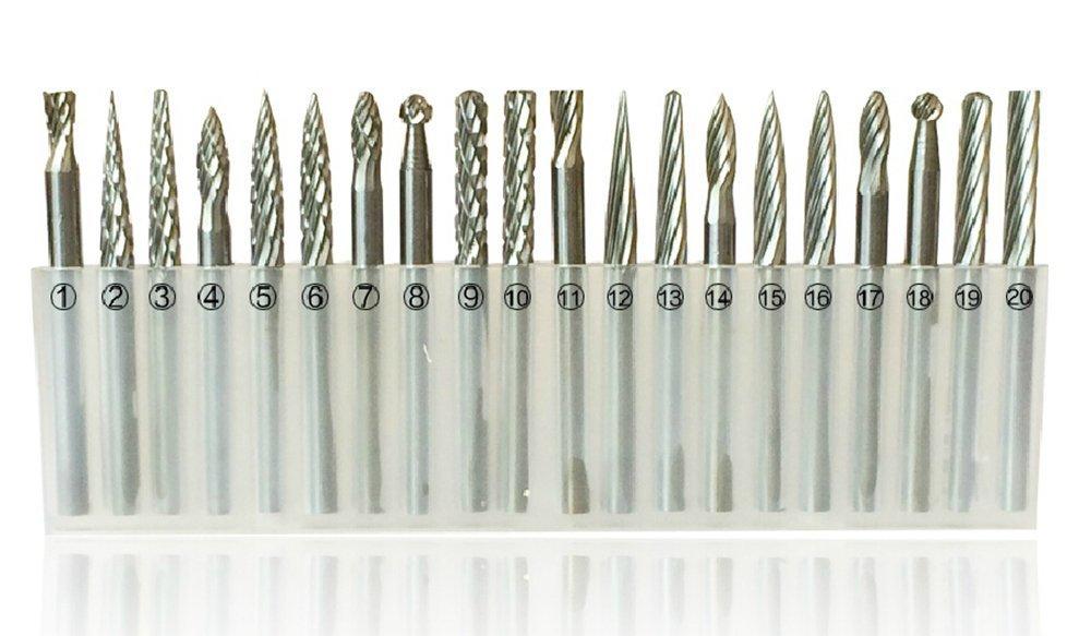 SHINA 20x 1//8 Vollhartmetall-Schaftfr/äsersatz Hartmetall-Fr/äser Rotary Burr Set CNC-Stich-Bit CED 3mm 20 St/ück 20tlg