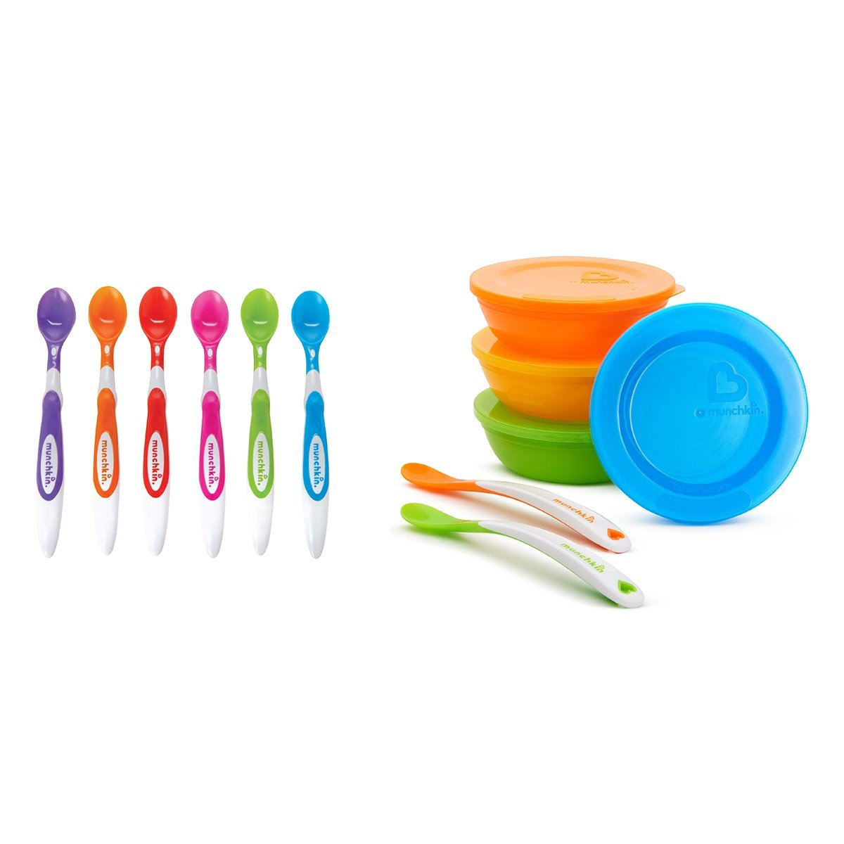 Munchkin Love a Bowls, 10 Piece Bowl and Spoon Set with Soft Tip Infant Spoons, Multi-Coloured, Pack of 6