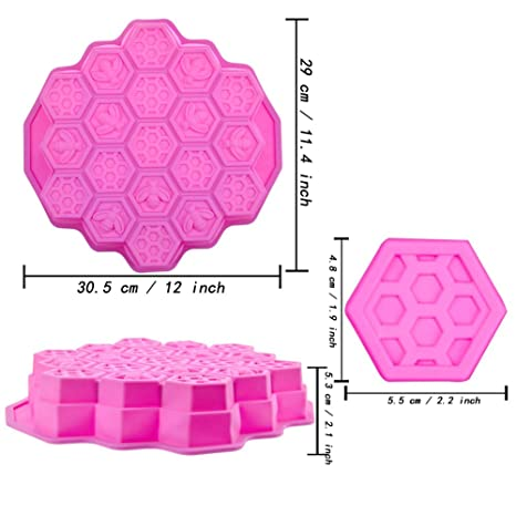 Vzer 19 Cavity Flexible Honeycomb Cake Molds for Kids Silicone Baking...