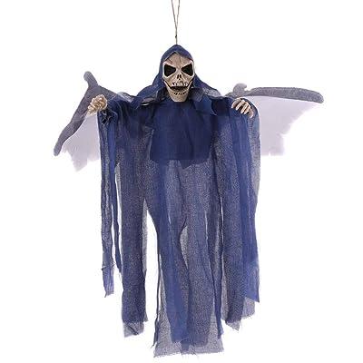 AOAO Accesorios Decorativos de Halloween, Esqueleto Colgante y Ojos Rojos Brillantes, adecuados para Colgantes de Bar y Noches de Carnaval,Azul: Hogar