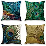 Throw Pillow Covers Natural Pattern Decorative Pillowcases 18x18inch (4 pieces set) Pillow Cases Home Car Decorative (Peacock feather)