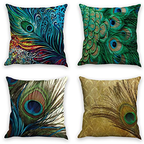 - laime Throw Pillow Covers Natural Pattern Decorative Pillowcases 18x18inch (4 Pieces Set) Pillow Cases Home Car Decorative Peacock Feather