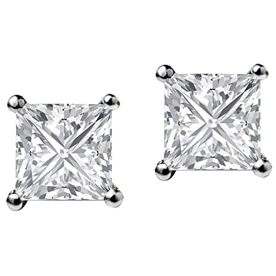 ebe38e4b1 Image Unavailable. Image not available for. Color: 14K White Gold Plated Cz  Ear Studs Princess Shape Cubic Zirconia ...
