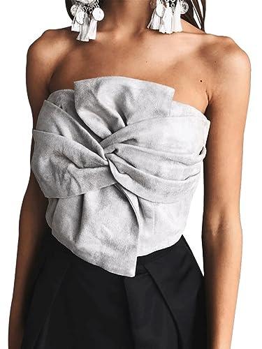 Simplee Apparel Las mujeres del frente pajarita flor Suede crop top de fiesta por la noche vestido Clubwear