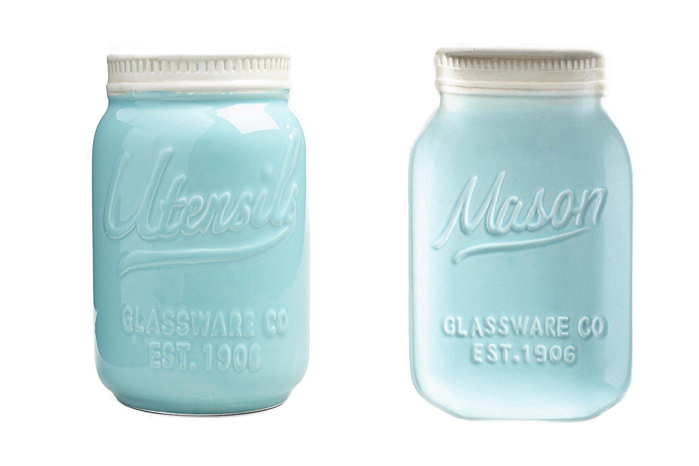 Mason Jar Ceramic Set Utensil Crock and Spoon Rest Blue World Market