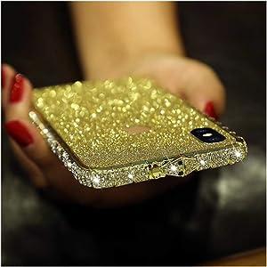 Bling Diamond Metal Bumper Case Glitter Sticker for iPhone X 3D Bling Glitter Sparkly Luxury Rhinestone Jeweled Edge Frame for Woman Girls - Gold