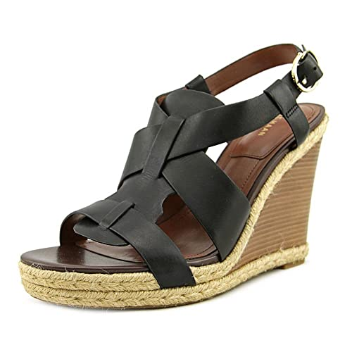8a675223222 Cole Haan Women s Breecey Wedge Black Leather Dark Natural Jute Dark Brown  Stacked