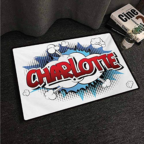HCCJLCKS Welcome Door mat Charlotte Female Name with French Origins in Retro Cartoon Design Explosion Effect and Dots Country Home Decor W31 xL47 Multicolor