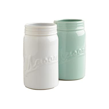 WM Large Mason Jar Decorative Flower Vase - White or Aqua (Aqua)
