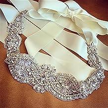 TRLYC Champagne Ribbon Sash Rhinestone Bridal Sash, Rhinestone Bridal Belt, Rhinestone Applique, Wedding Sash Belt, Wedding Sash, Bridal Belt