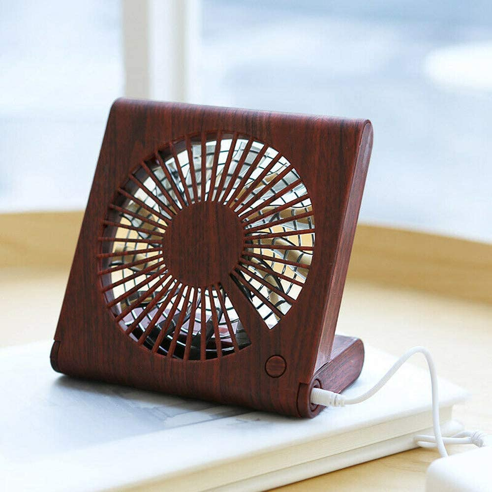 Wood Grain Desktop Fan Foldable Portable Silent Electric Cooling Fan USB Rechargeable Office Fan That can be Used for Tea for Reading Low Noise Beige
