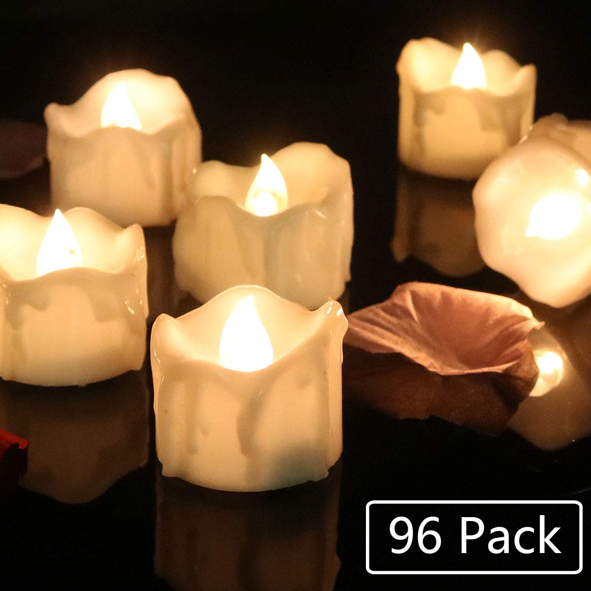 Cozeyat 96pcs Wax-drip Battery Operated Tea Lights, Flameless Votives, Flickering LED Candles for Dinner Table Setting, Centerpiece, Wedding, Anniversary, Birthday Party by Cozeyat