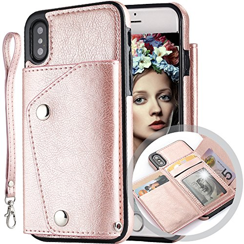 iPhone Xs Wallet Case for Women/Men,Auker Flip Silk Leather Fold Stand Feature Slim Wallet Case on Back with Card Holder/Strap&Money Pocket Shockproof Magnetic Purse Cover for iPhone X/XS(Rose Gold)