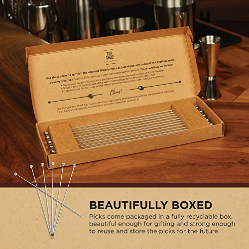Stainless Steel Cocktail Picks - Extra long 8'' (Set of 12) by Top Shelf Bar Supply (Image #7)