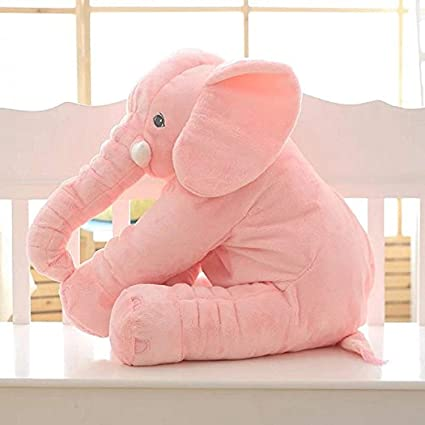 Sana Animal Elephant Soft Toy Cushion Pillow Cover for Baby Safety (Size_21x14x10 cm) (Pink)