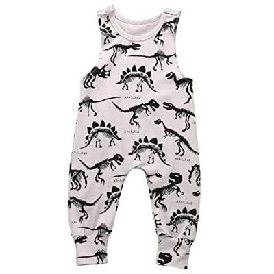 Alione Newborn Infant Baby Boys Girls Cotton Sleeveless Dinosaur Romper Jumpsuit Summer Clothes Outfit