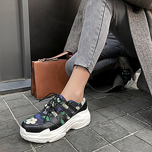 Creepers Plateau Plateauschuhe Keilabsatz 35 KJJDE Q1414 Spezieller Stoffdruck Keile WSXY Damen Green Schuhe EaU1Wzq1