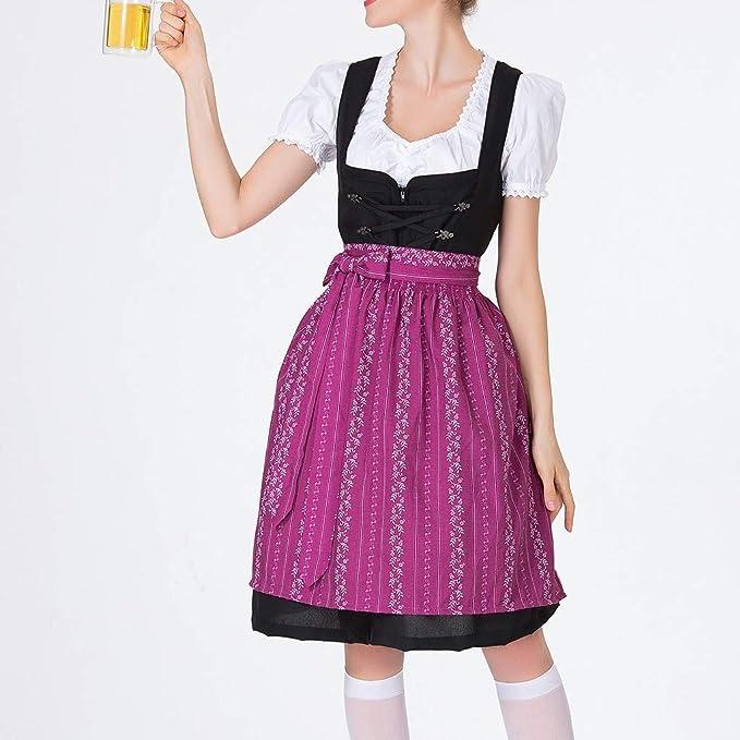 PinkLu sukienka damska, długość do kolan, odświętna, na Oktoberfest showkleid, karnawał, imprezę, fartuch kokardowy, sukienka koktajlowa w stylu vintage, w jednolitym kolorze, sukienka na im
