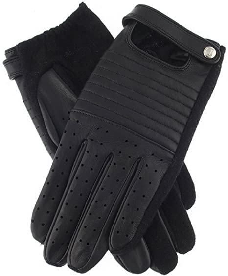 Dents Womens Tana Leather Back Touchscreen Gloves Black
