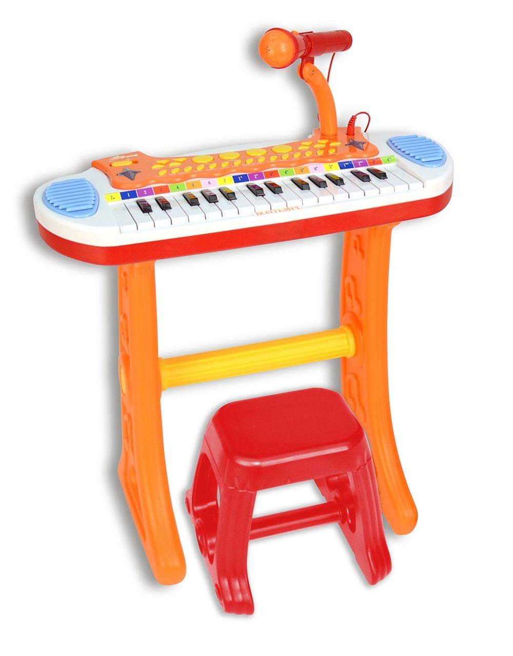Bontempi Elektronisches Keyboard mit Mikrofon und Hocker (13 3225)