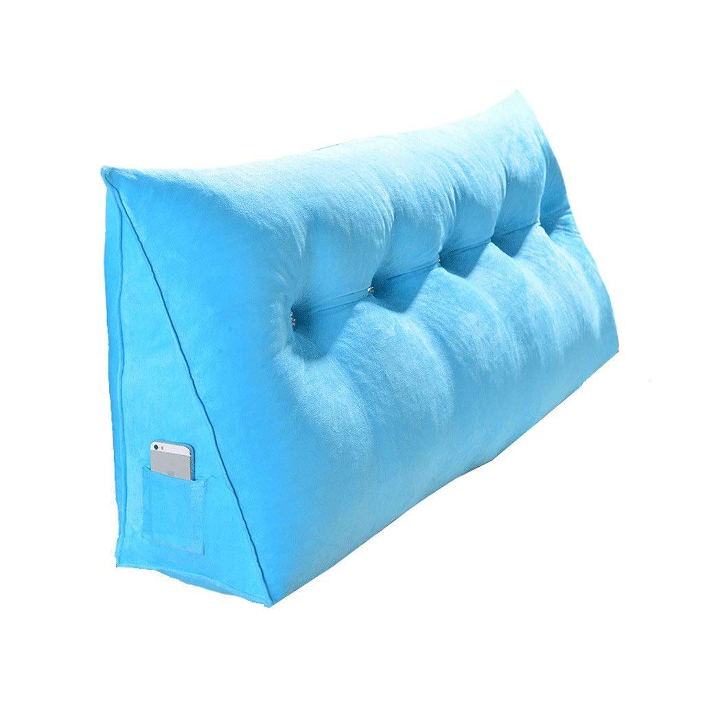 Headboard Cushion Soft Bag Triangle Double Comfortable Big Back Waist Backrest Pillow Tatami Bed Large Cushion Long Pillow (Color : Blue, Size : 2002050cm) by K&F-Cushion