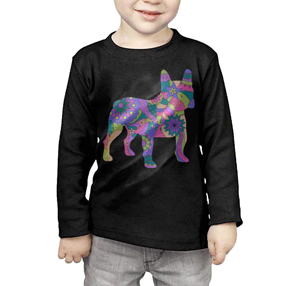 Baby Girls Little Boys French Bulldog Painted Silhouette ComfortSoft Long Sleeve Shirt
