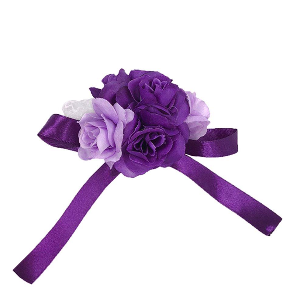 Abbie Home Wedding Wrist Corsage Brooch Boutonniere Set Party Prom Hand Flower D/écor-White/&Lavender