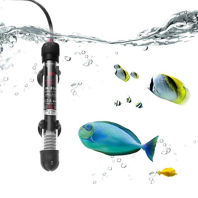 DJLOOKK Calentador De Agua Sumergible para Acuarios, con Temperatura Ajustable, Apto para Pequeños Tanques De Peces (50W): Amazon.es: Deportes y aire libre