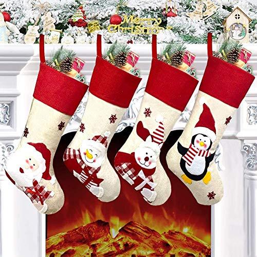 Chaussettes de Noël, Lot de 4 Grandes Chaussettes Noël a Suspendre 45,7 cm, Xmas Sac Cadeau pour Cheminée Vitrine Sac de Bonbons, Cartoon Noël Bonhomme de Neige Père, Décoration pour Noël