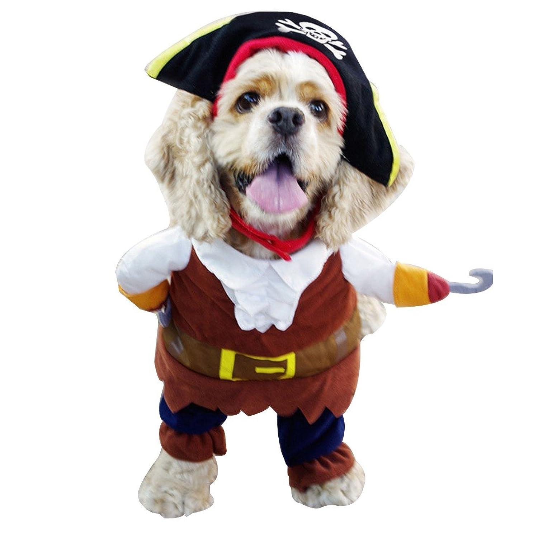 iEFiEL Disfraces de Pirata para Mascota Cachorro Perrito Ropa para Perro con una Gorra y una