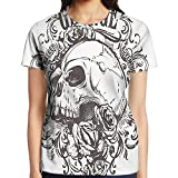 steelers toaster - WuLion Skull and Rose Art Vintage Floral Pattern Women's 3D Print T Shirt M White