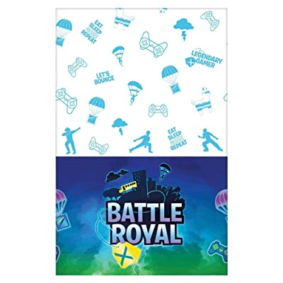 """Battle Royal"" Blue and White Paper Party Table Cover, 54"" x 96"": Toys & Games"
