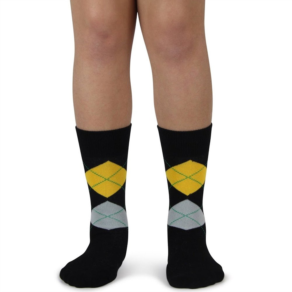 Spotlight Hosiery Junior's Groomsmen/Ring Bearer Wedding Argyle Dress Socks Black/Charcoal Dark Gray MA077-argyle-junior