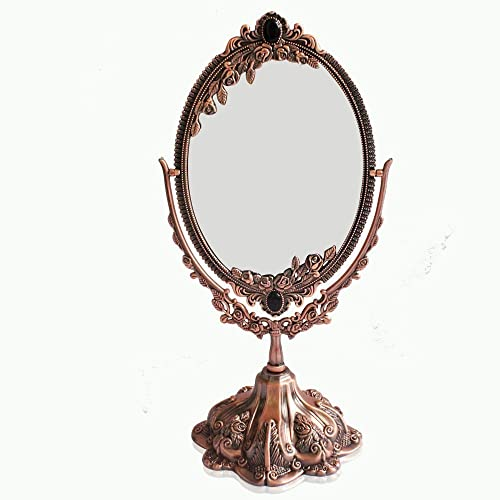 Luckymoo Vintage Double Face Retro Bronze Alloy Metal Table Makeup Dresser Desktop Decorative Mirror Embossed Frame Makeup Tool red Bronze