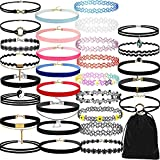 Glasses Chain for Women,30Pieces Choker Necklace Set Stretch Velvet Classic Gothic Tattoo Lace Choker,Novelty Earrings,Multicolor,Women Jewelry