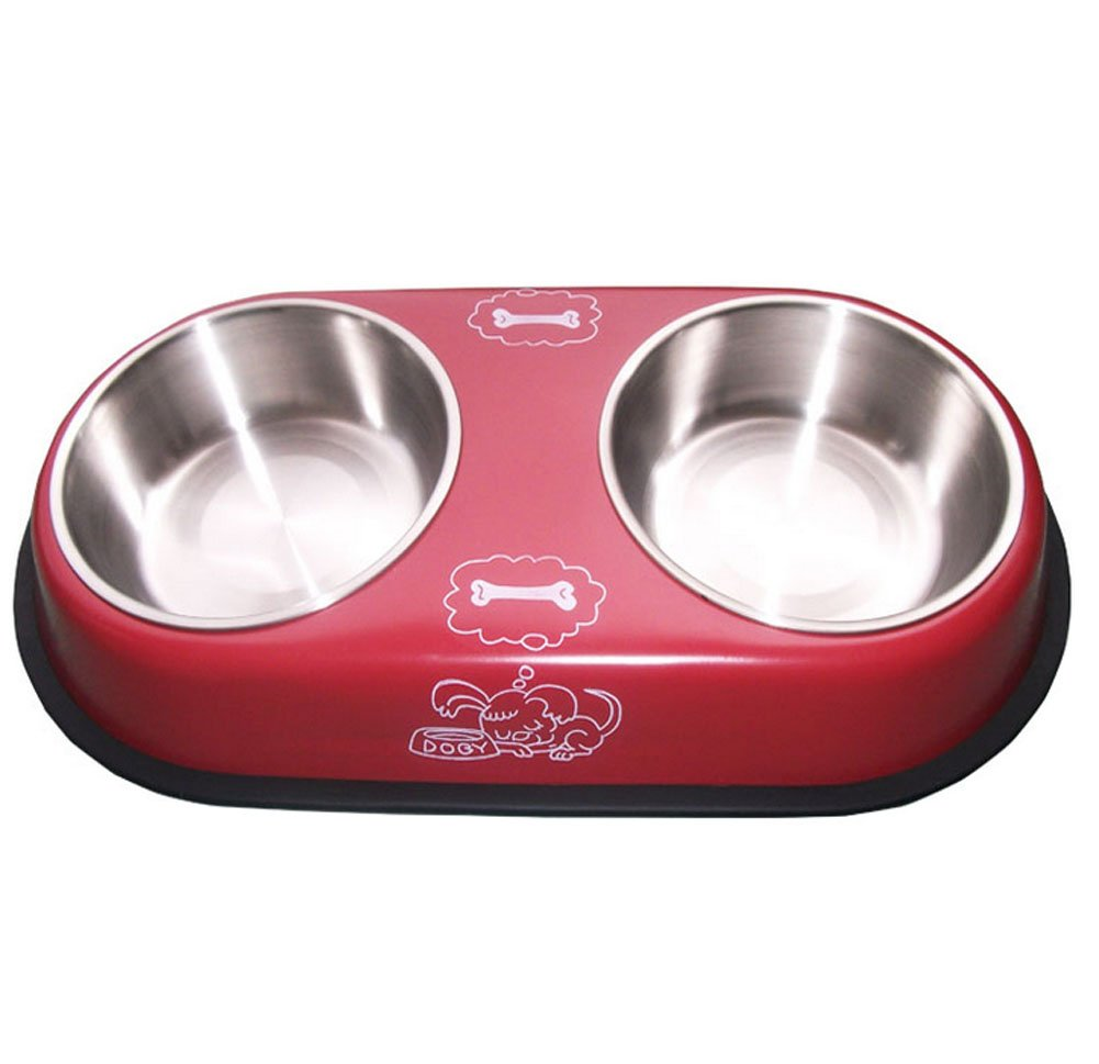Double Stainless Steel Bowls for Pets Dogs Cats RED (38.620.85.0 cm)